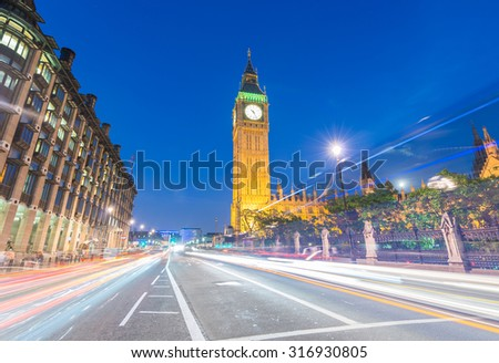 Magnificence of Westminster Palace and Big Ben at night, London - UK. - stock photo