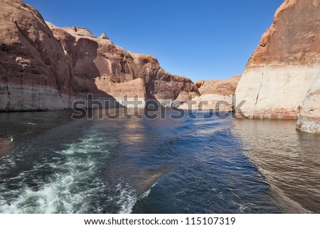 Magnificent and picturesque lake Powell. The artificial lake which has arisen in flood of the river Colorado on the earths of an American Indian reservation - stock photo