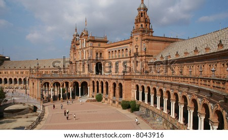 Magnificent architecture of the Plaza de Espana, Seville.