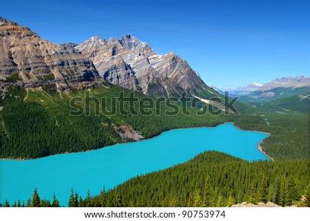Magnificent blue waters of Peyto Lake of Banff National Park in Canada - stock photo