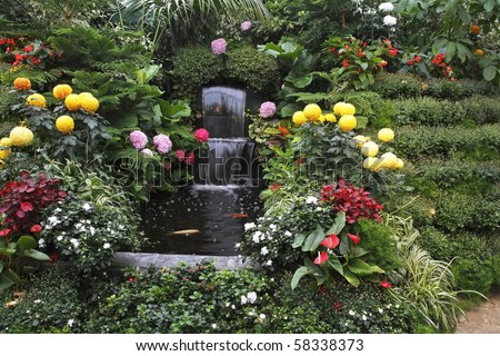 Magnificent cascade fountain in well-known Butchard-garden on island Vancouver - stock photo