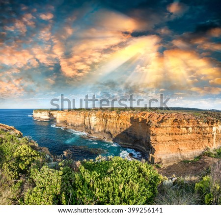 Magnificent coastal view along Razorback viewpoint - Great Ocean Road, Australia. - stock photo