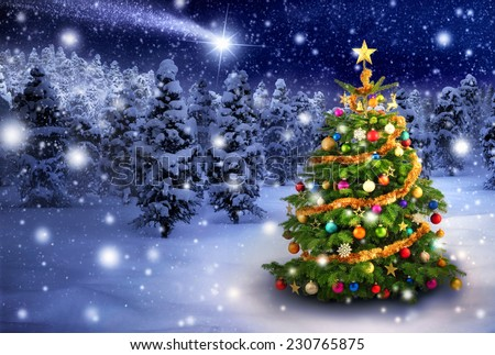 Magnificent colorful Christmas tree outdoor in a snowy night with a shooting star in the sky, for the perfect Christmas mood - stock photo