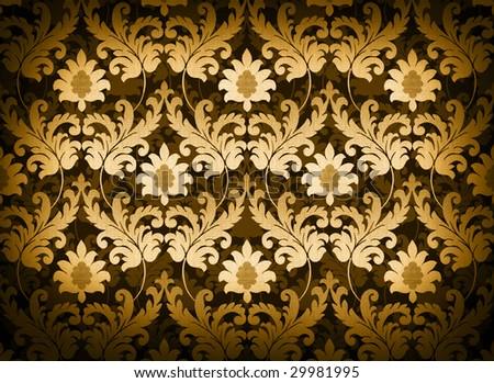 Magnificent decorative gold renaissance background - stock photo