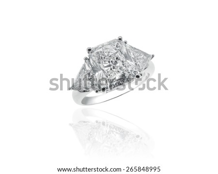 Magnificent Diamonds Solitaire Jewelry Ring - stock photo