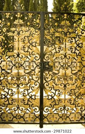 Magnificent Door In Paradise Garden. - stock photo