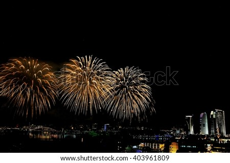 Magnificent fireworks show - fireballs - stock photo