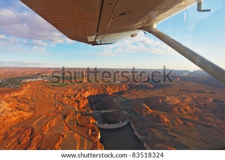 Magnificent Glenn ?anyon Dam on a sunset, photographed from the plane. - stock photo
