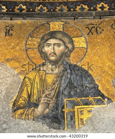 Magnificent golden mosaic of Jesus Christ in the ancient byzantine basilica of Saint Sophia in Istanbul, Turkey