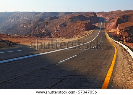 Magnificent highway in ancient mountains of Eilat in Israel. A sunset