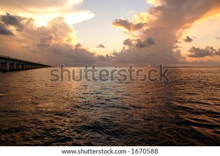 Magnificent Key West ocean view Sunset near seven mile bridge - stock photo