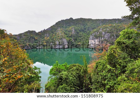 Magnificent lake with bright green water on small rocky island. The Thai gulf