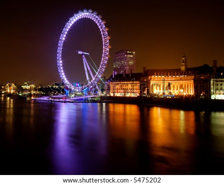 Magnificent London Eye at nightime - stock photo