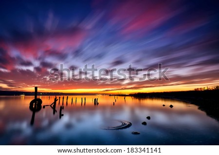 Magnificent long exposure sea sunset - stock photo