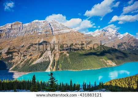 Magnificent mountain lake with turquoise glacial water. Banff National Park. Canada - stock photo