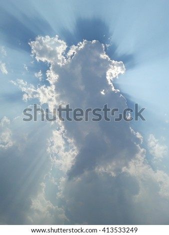 Magnificent skyscape as the sun is breaking out from the skies after a storm - stock photo