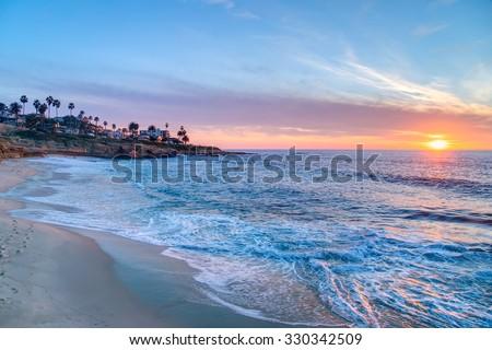 Magnificent sunset on the beach in La Jolla California - stock photo