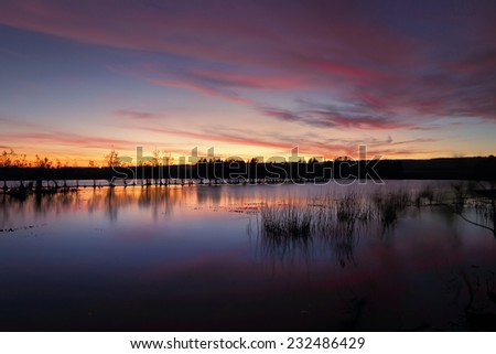Magnificent sunset over Penrith Lakes, NSW Australia - stock photo