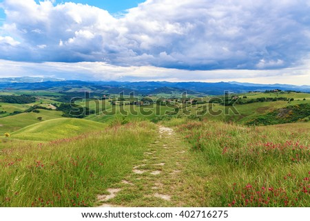 Magnificent Tuscan landscape, fields and meadows near Volterra in Italy - stock photo