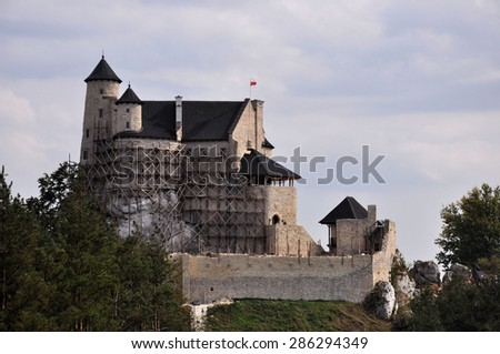 Magnificent view at Bobolice caste, one of the castles on Trail of the Eagles' Nests in Poland. - stock photo