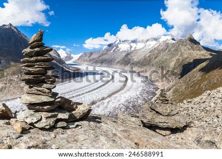 Magnificent view of the Aletsch glacier on Mountains, Jungfrau region, Switzerland - stock photo