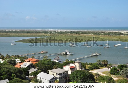 Magnificent view of the marina and beaches from the deck of the 219 step tower at St Augustine Florida - stock photo