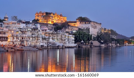 Magnificent view of Udaipur, Rajasthan at night - stock photo