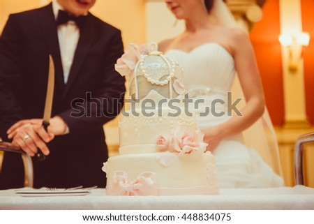 Magnificent wedding cake decorated with pearls stands on the table in the front of wedding couple - stock photo