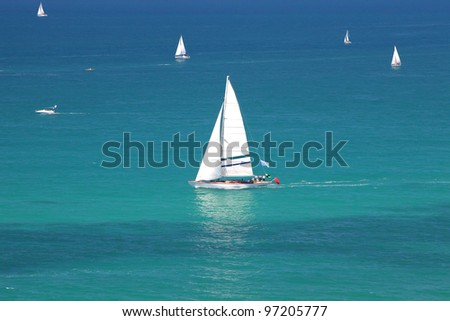 Magnificent white yachts. Mediterranean Sea Scene - stock photo