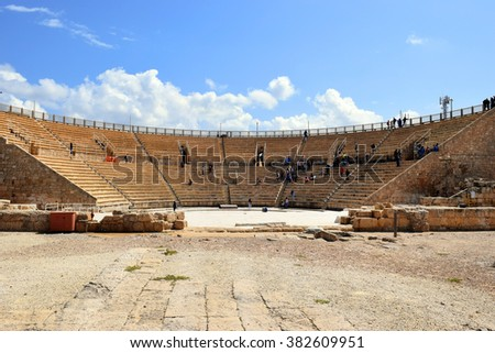 magnificently preserved roman amphitheater in Caesarea Maritima, national park, Israel