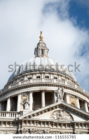 Magnificient view of St Paul Cathedral in London - UK - stock photo