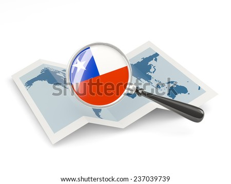 Magnified flag of chile with map isolated on white - stock photo