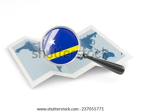 Magnified flag of curacao with map isolated on white - stock photo