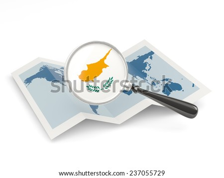 Magnified flag of cyprus with map isolated on white - stock photo