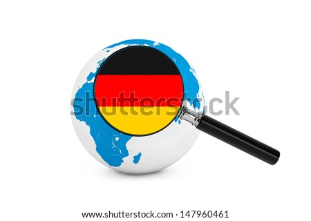 Magnified flag of Germany with Earth Globe on a white background - stock photo