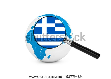 Magnified flag of Greece with Earth Globe on a white background - stock photo