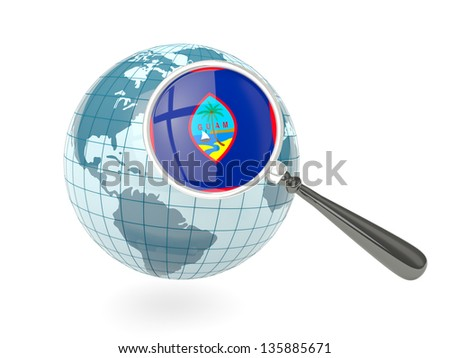 Magnified flag of guam with blue globe isolated on white