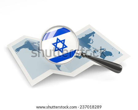 Magnified flag of israel with map isolated on white - stock photo