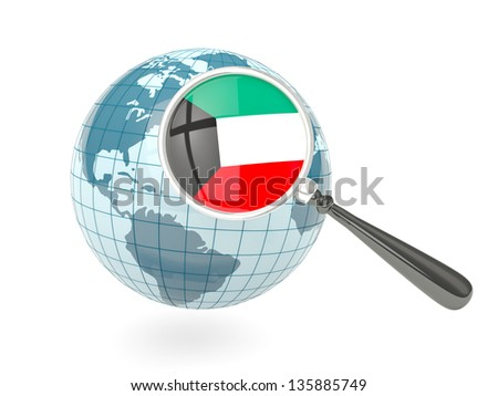 Magnified flag of kuwait with blue globe isolated on white - stock photo