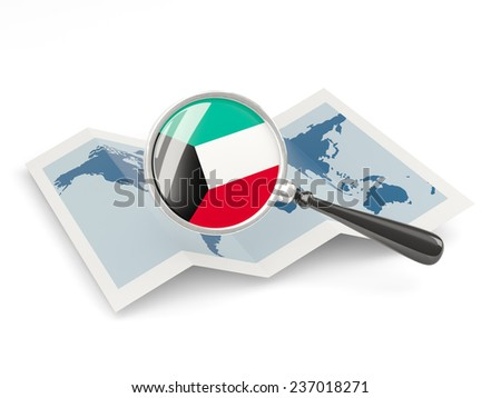 Magnified flag of kuwait with map isolated on white - stock photo
