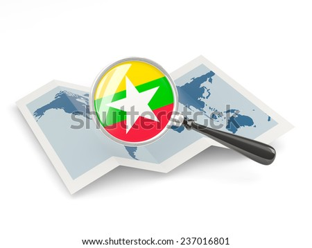 Magnified flag of myanmar with map isolated on white - stock photo