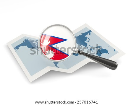 Magnified flag of nepal with map isolated on white - stock photo