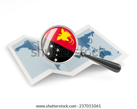 Magnified flag of papua new guinea with map isolated on white - stock photo