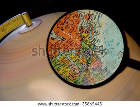 Magnified Globe - stock photo