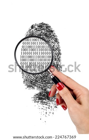 Magnified to Binary Code - stock photo