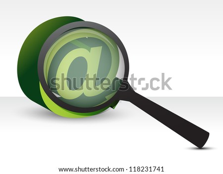 magnifier and att sign illustration over white - stock photo
