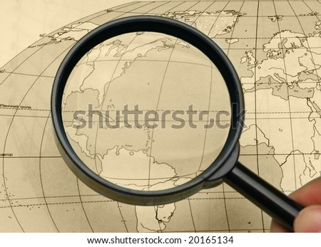 magnifier and card - stock photo