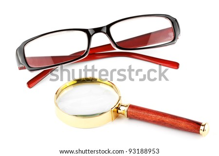Magnifier and eyeglass on the white background - stock photo