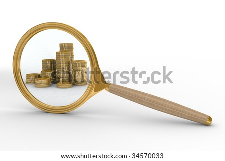 Magnifier and money on white background. Isolated 3D image