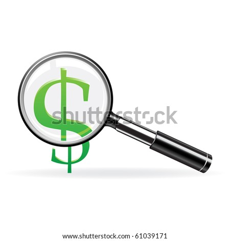 Magnifier and sign of dollar. Abstract finance symbol